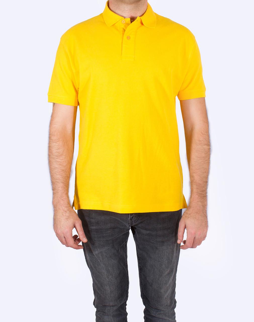 Поло - футболка желтая, мужская, JHK T-shir, однотонная, промо одежда, от XS до XXL