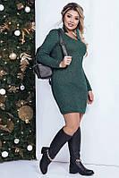 Короткое вязаное платье с люрексом 41154 (48–58р) в расцветках, фото 1