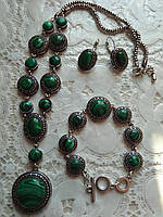 Красивый стильный комплект с натуральных камней, малахит, подвеска,браслет,серьги.