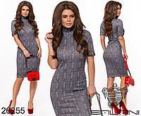 Стильное деловое платье футляр в клетку размеры S-L