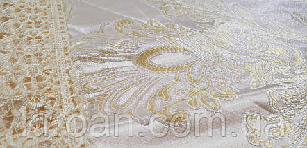 Золотистая скатерть с кружевом 150х225 (код А67814), фото 2