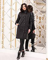 Женское длинное пальто-куртка на синтепоне, размер 42-54