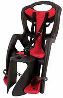 Сиденье заднее BELLELLI Pepe Clamp  детское до 22кг  (серый с красным) крепится на багажник