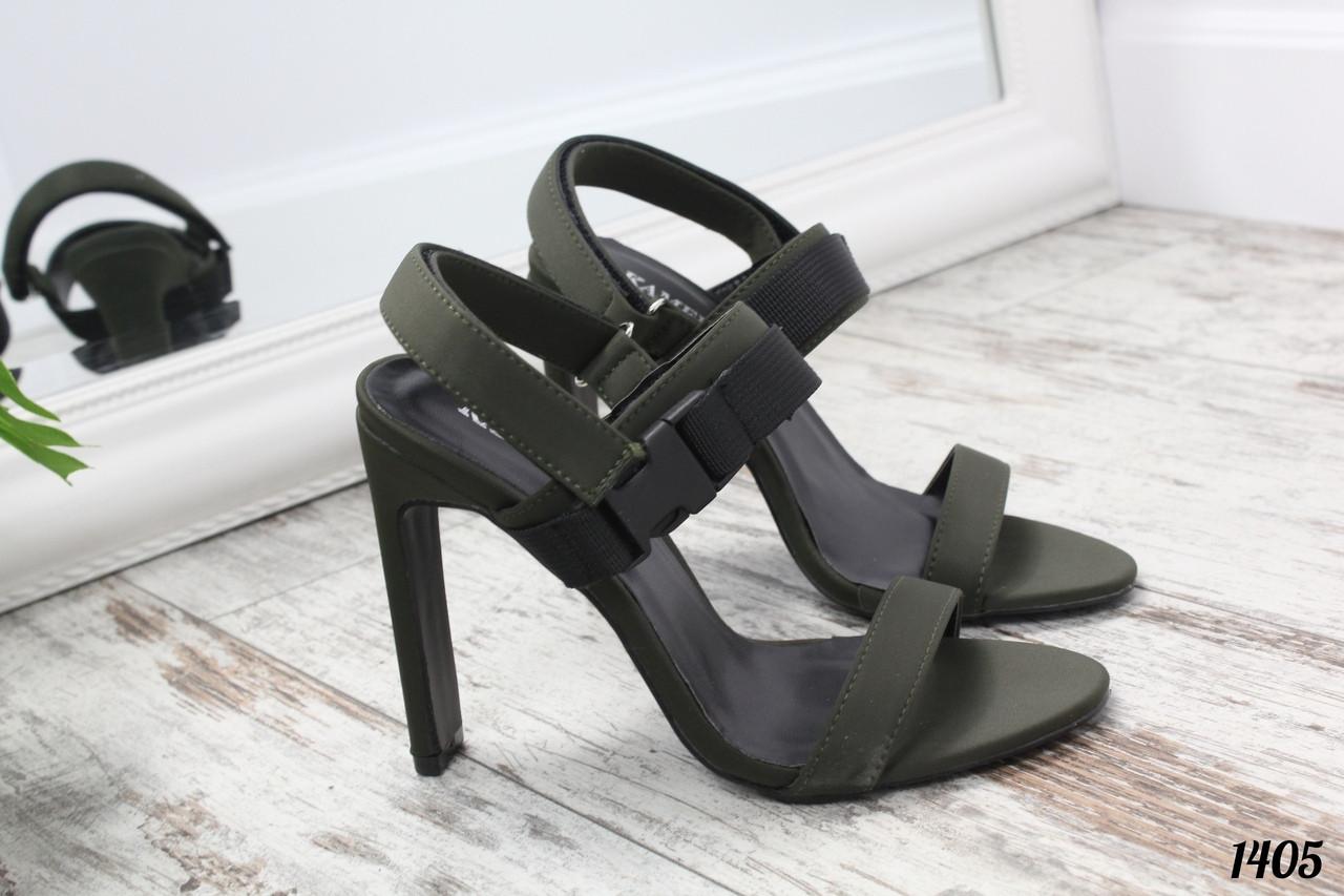 Босоножки Kemer с ремешком на высоком каблуке оливковые, фото 1