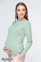 Стильный лонгслив для беременных и кормящих STEFANIA, светло-зеленый.
