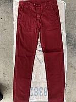 Бордовые котоновые брюки для мальчиков,разм 11-15 лет