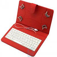 Чехол-клавиатура 7 дюймов Micro USB уголки-магнит красный