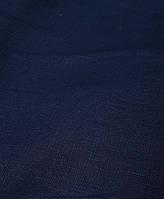 Льняная костюмная ткань темно -синего цвета, фото 1