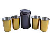 Рюмки из нержавеющей стали в кожаном чехле Золото, 4 шт*150 мл, PQ-03 Б