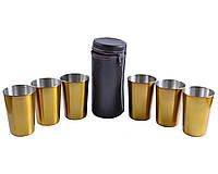Рюмки из нержавеющей стали в кожаном чехле Золото, 6 шт*150 мл, PQ-04 Б