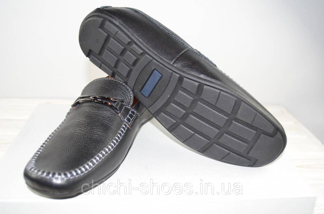 Туфли мужские Konors 696-7-1 чёрные кожа на резинках
