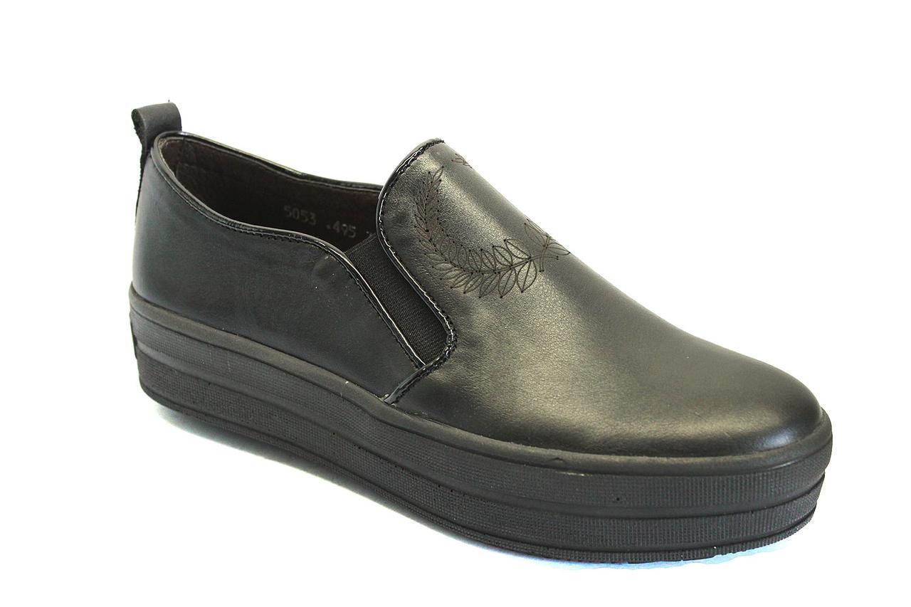Слипоны мокасины черные кожаные женская обувь больших размеров Sei stupenda BS Black Leather by Rosso Avangard