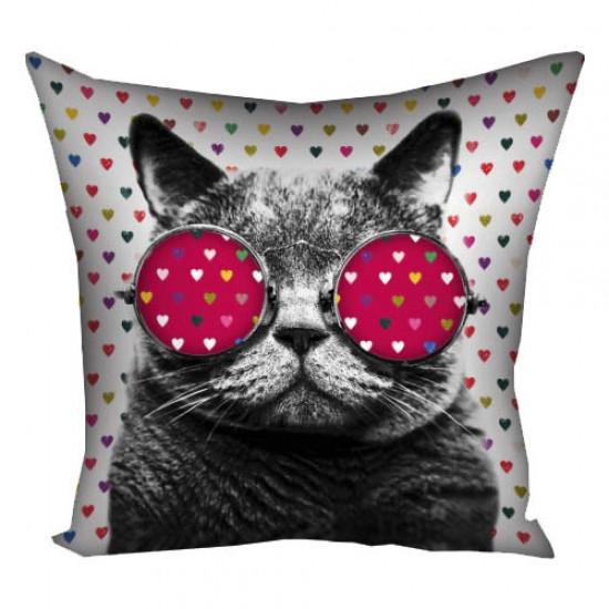 Подушка кот в очках