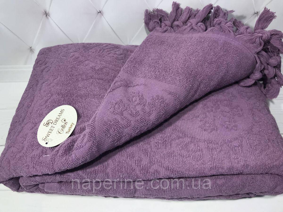 Махровая жаккардовая простынь SWEET DREAMS Hitit purple