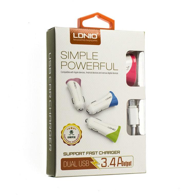 Автомобильное зарядное устройство LDNIO C332 2USB 3.4A micro-USB white (27364)
