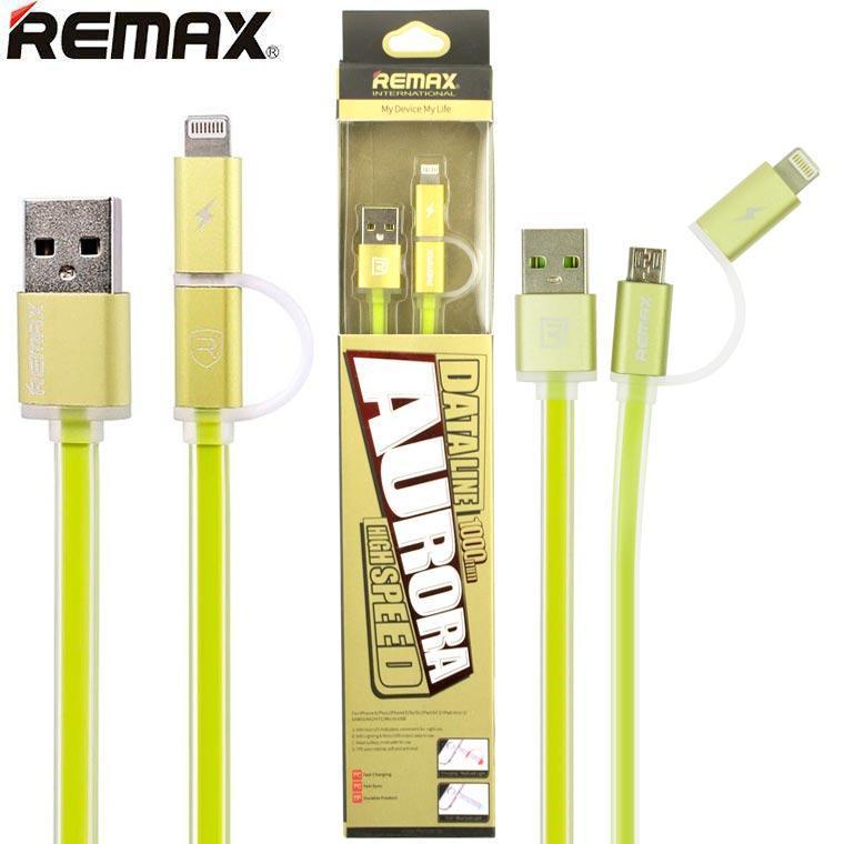 USB кабель Remax Aurora RC-020t 2in1 lightning-micro 1m зеленый (30030)