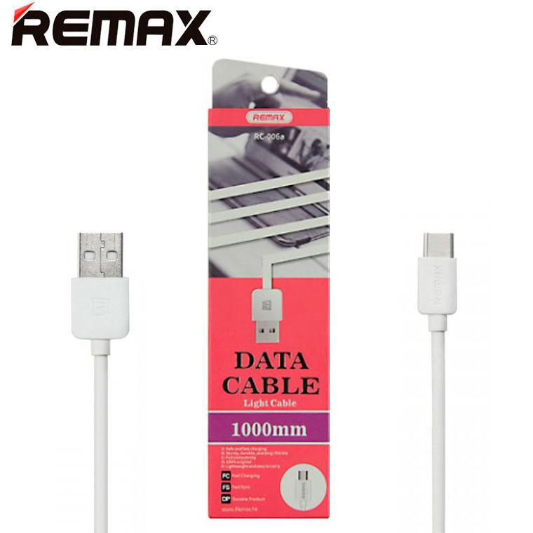 USB кабель Remax Light speed RC-006a Type-C 1m белый (30091)