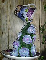 """Парящая чашка """"Сиреневая-2 """" декорированная. Подарок на День влюбленных."""