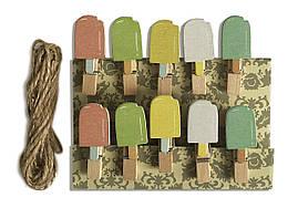 """Мини прищепки для декора """"Мороженое эскимо"""" 3.5 см  (10 штук)"""