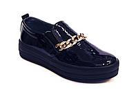 Слипоны мокасины черные кожаные женская обувь больших размеров Sei stupenda Blu Lack BS Rosso Avangard, фото 1