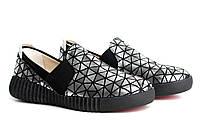Слипоны мокасины черные кожаные женская обувь больших размеров Sei stupenda Silveri BS Rosso Avangard, фото 1