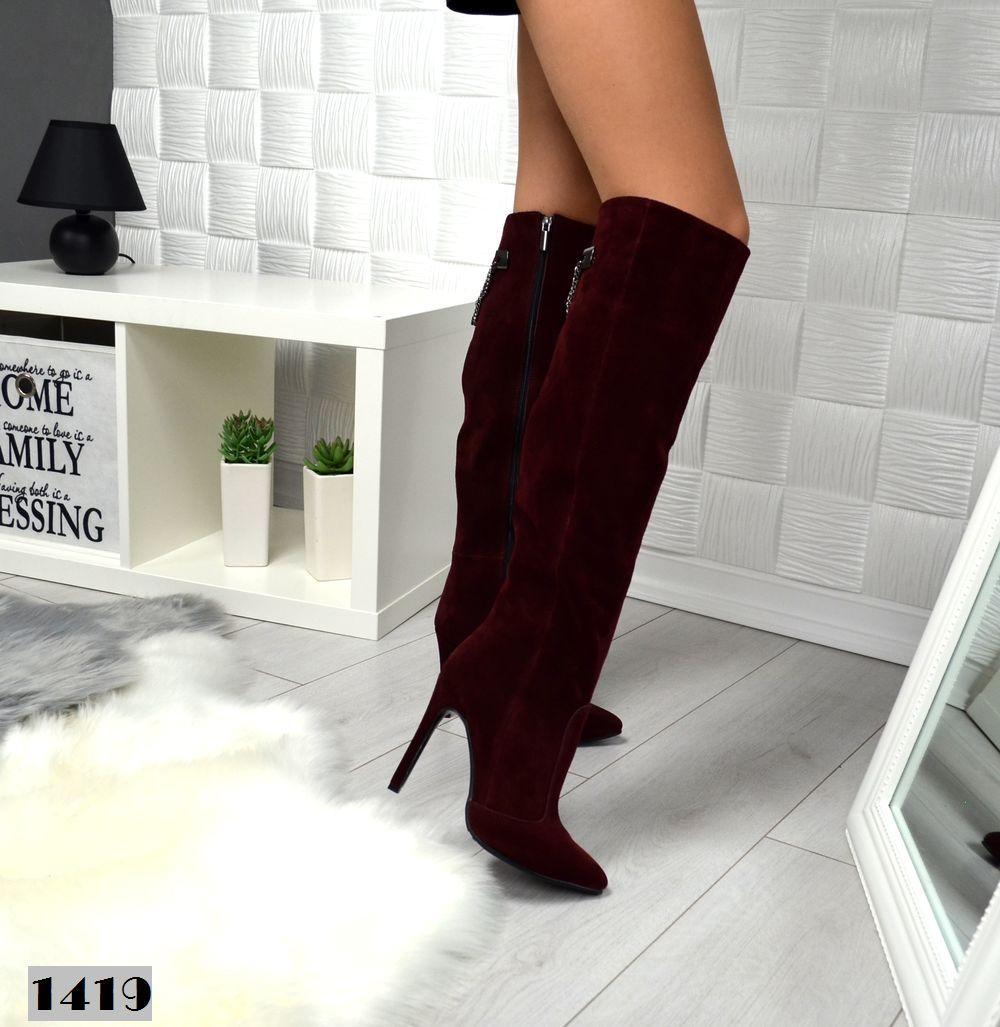 Женские замшевые ботфорты на шпильке Натуральная замша бордового цвета