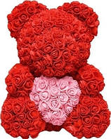 """Красный 3D мишка из роз """"Teddy Bear"""" 25 см + подарочная упаковка в подарок бесплатно."""