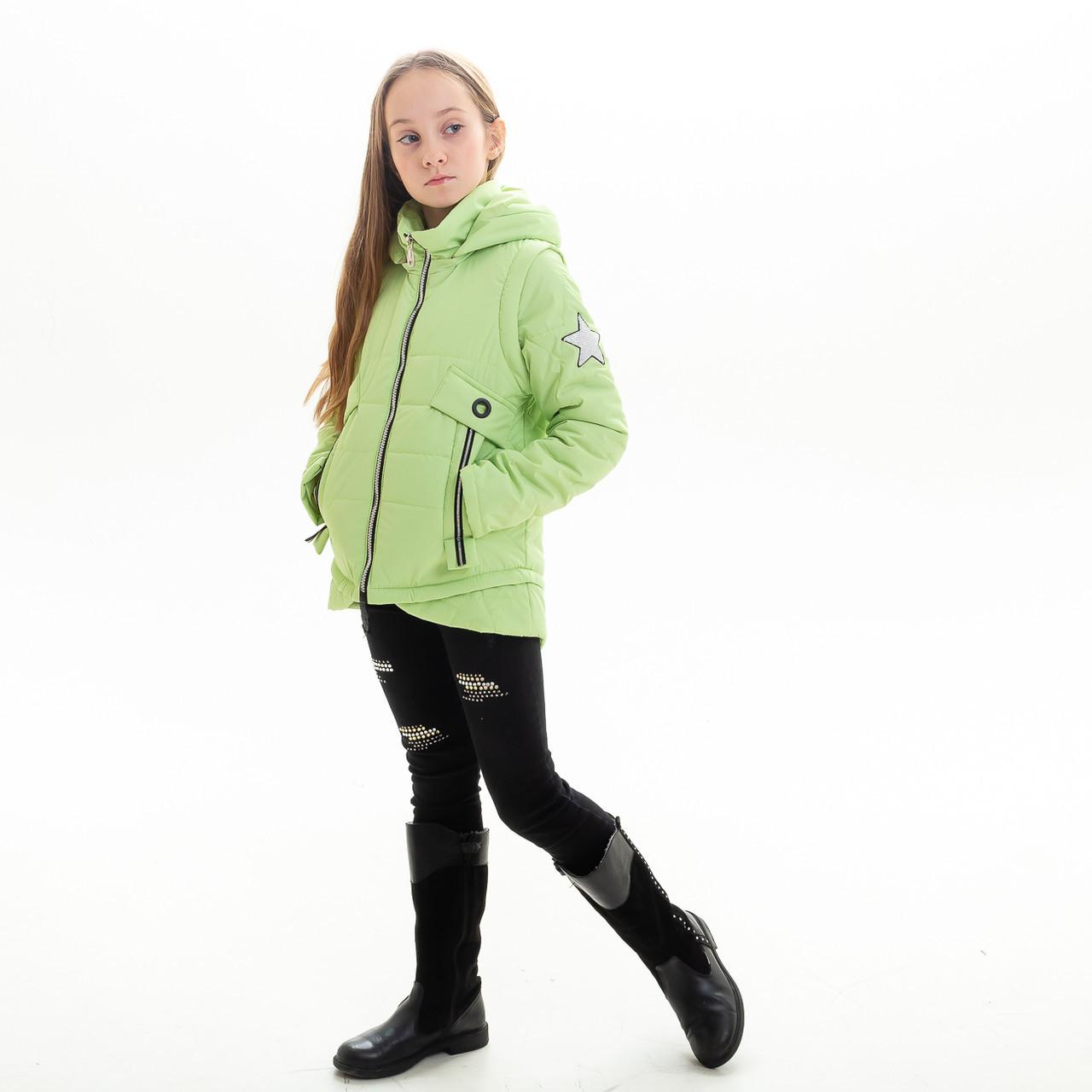 Куртка-жилет для девочки «Мира» (6-11 лет) лайм
