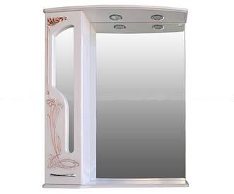 Шкаф зеркальный Атолл Барселона 85 (белое дерево, патина медь)