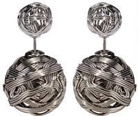 Серьги-шарики в стиле Mise en Dior металлические серебристые