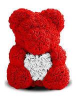 3D мишка Тедди из искусственных роз Roselive белый с красным сердцем 40 см