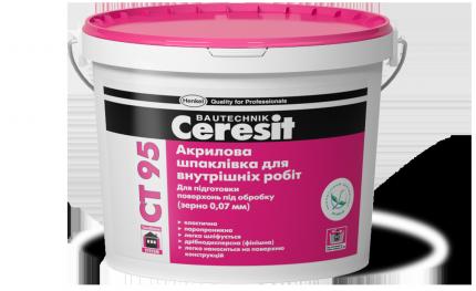 Акриловая шпаклевка для внутренних работ (зерно 0,07 мм) Ceresit CT 95, 5л