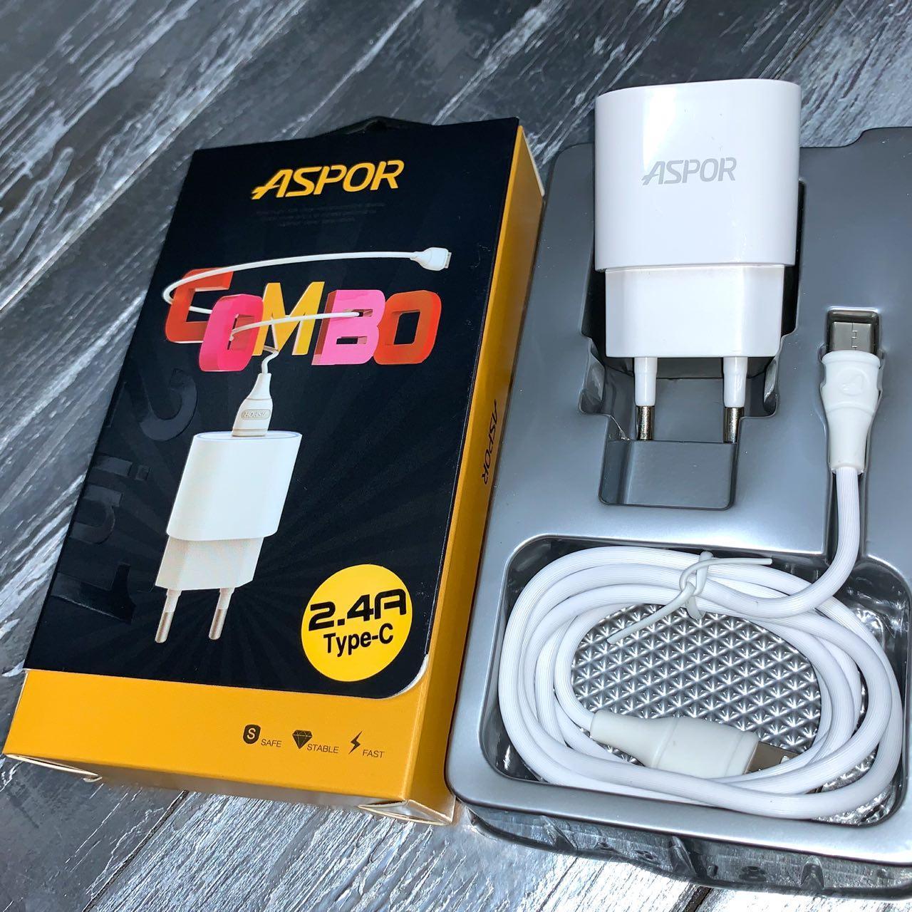 Сетевые зарядные устройства ASPOR 2.4A  iQ + USB кабель Type-C
