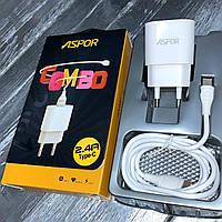 Сетевые зарядные устройства ASPOR 2.4A  iQ + USB кабель Type-C, фото 1
