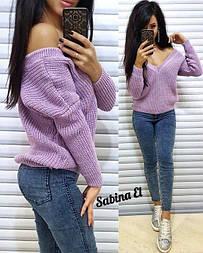 Женский вязаный свитер с V-образным вырезом и спадающим плечом (в расцветках) vN2377