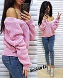 Женский вязаный свитер с V-образным вырезом и спадающим плечом (в расцветках) vN2377, фото 4