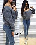 Женский вязаный свитер с V-образным вырезом и спадающим плечом (в расцветках) vN2377, фото 5