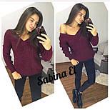 Женский вязаный свитер с V-образным вырезом и спадающим плечом (в расцветках) vN2377, фото 8