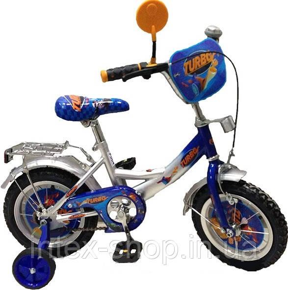 Велосипед детский мульт 12 д. P1248T Серо-синий Турбо.