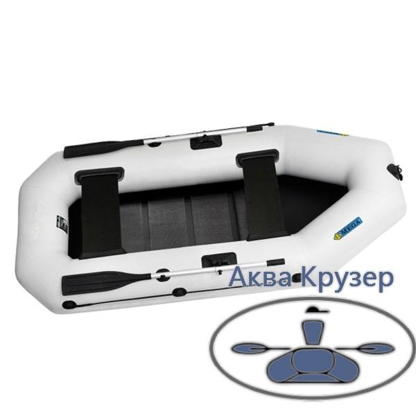 Гребная лодка пвх omega Ω 280 LS для 2-х, 3-х рыбаков с поворотными уключинами и реечной сланью
