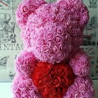 """Розовый 3D мишка из роз """"Teddy Bear"""" 25 см + подарочная упаковка в подарок бесплатно."""""""