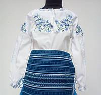 Вишита сорочка для дівчинки з волошками та довгими рукавами Батист 3b6f1c362d21b