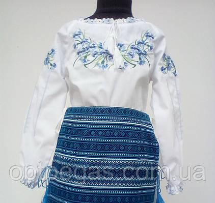 Вишита сорочка для дівчинки з волошками та довгими рукавами Батист ... ad1e8cd23f108