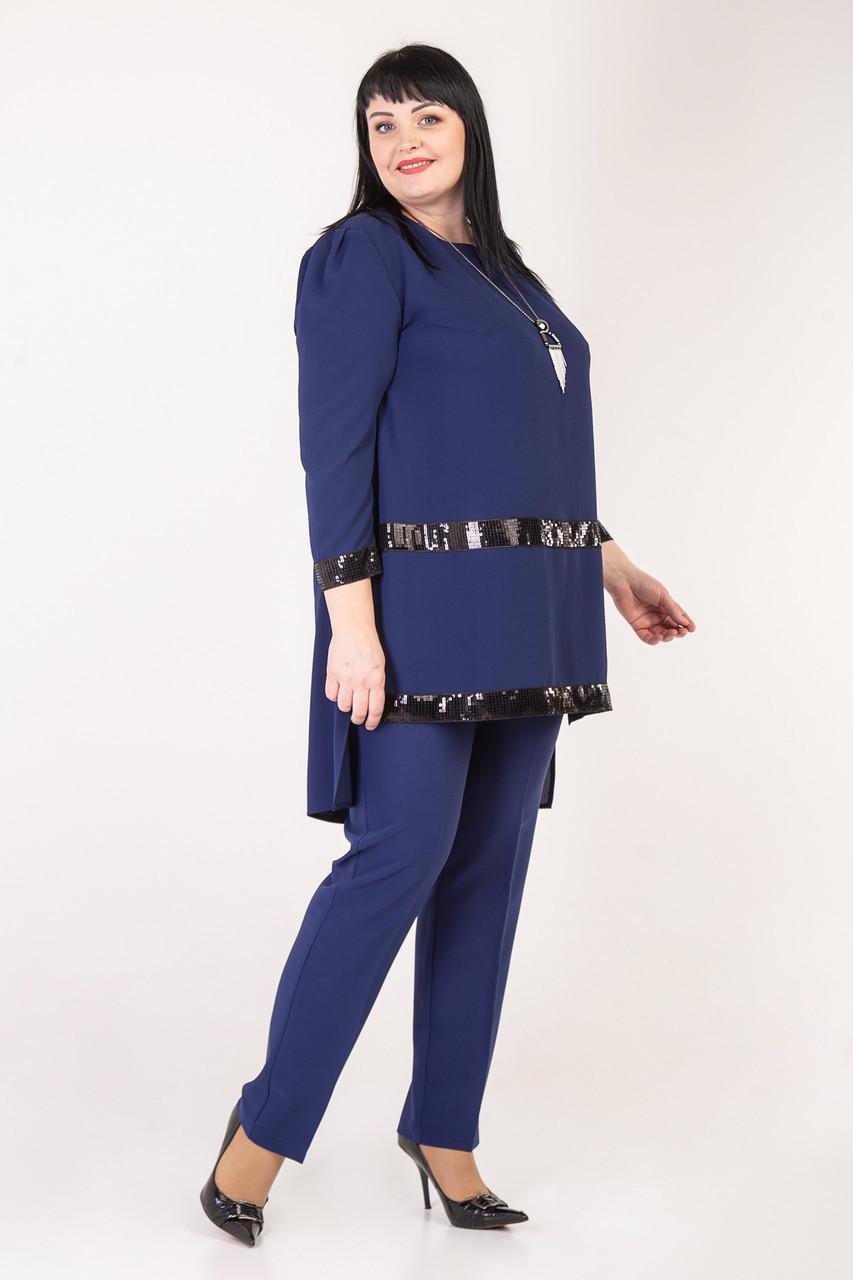 3cf9b83d3c9 Вечерний женский брючный костюм украшен пайетками черный