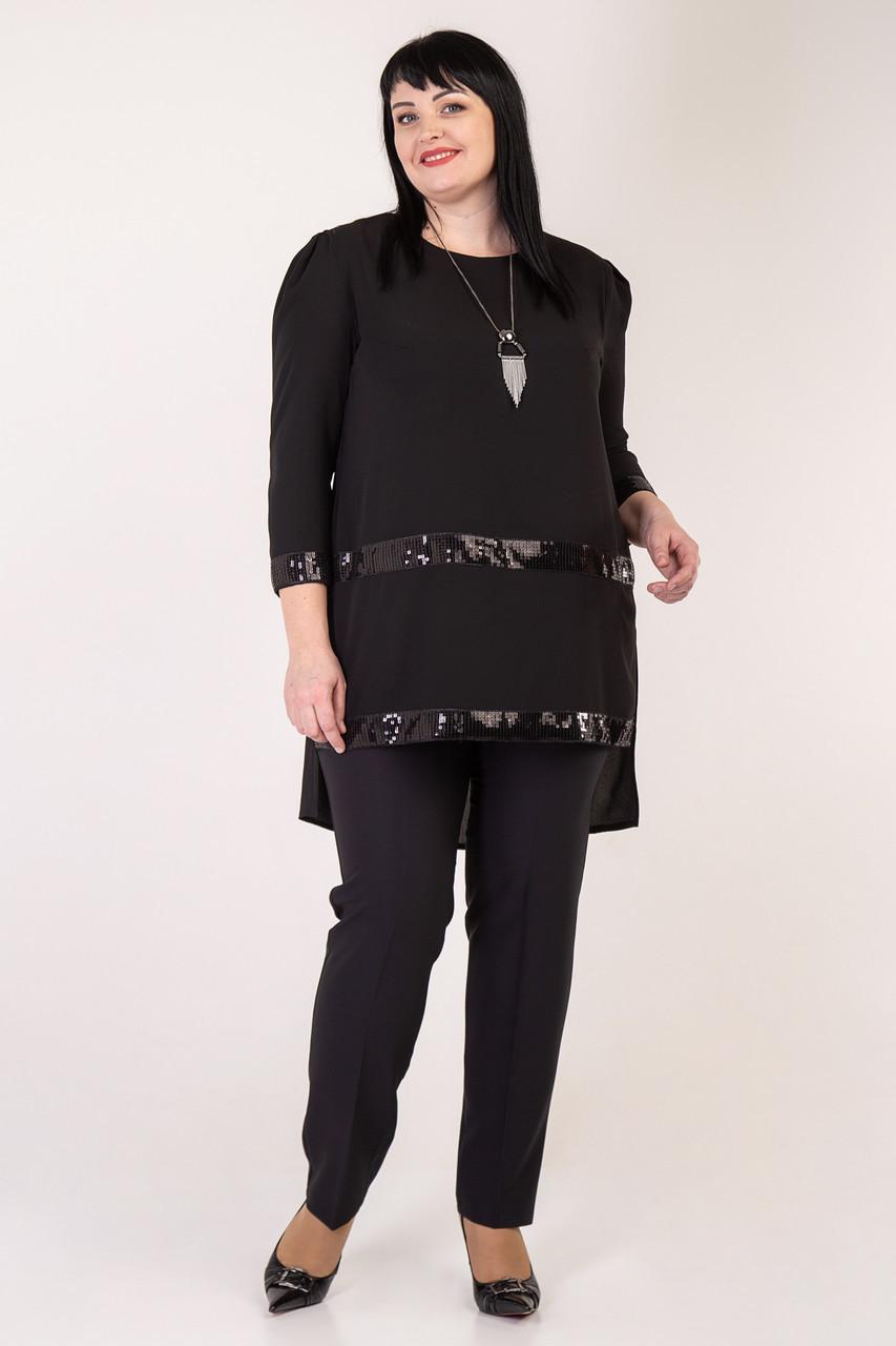 a498aa8bffb Вечерний женский брючный костюм украшен пайетками черный - Интернет-магазин  Buyself.com.ua