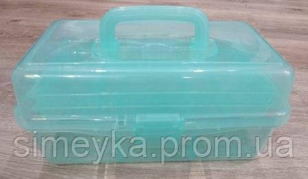 Органайзер-чемодан розкладний для фурнітури з ручкою і 2 висувними поличками всередині. Ментоловий