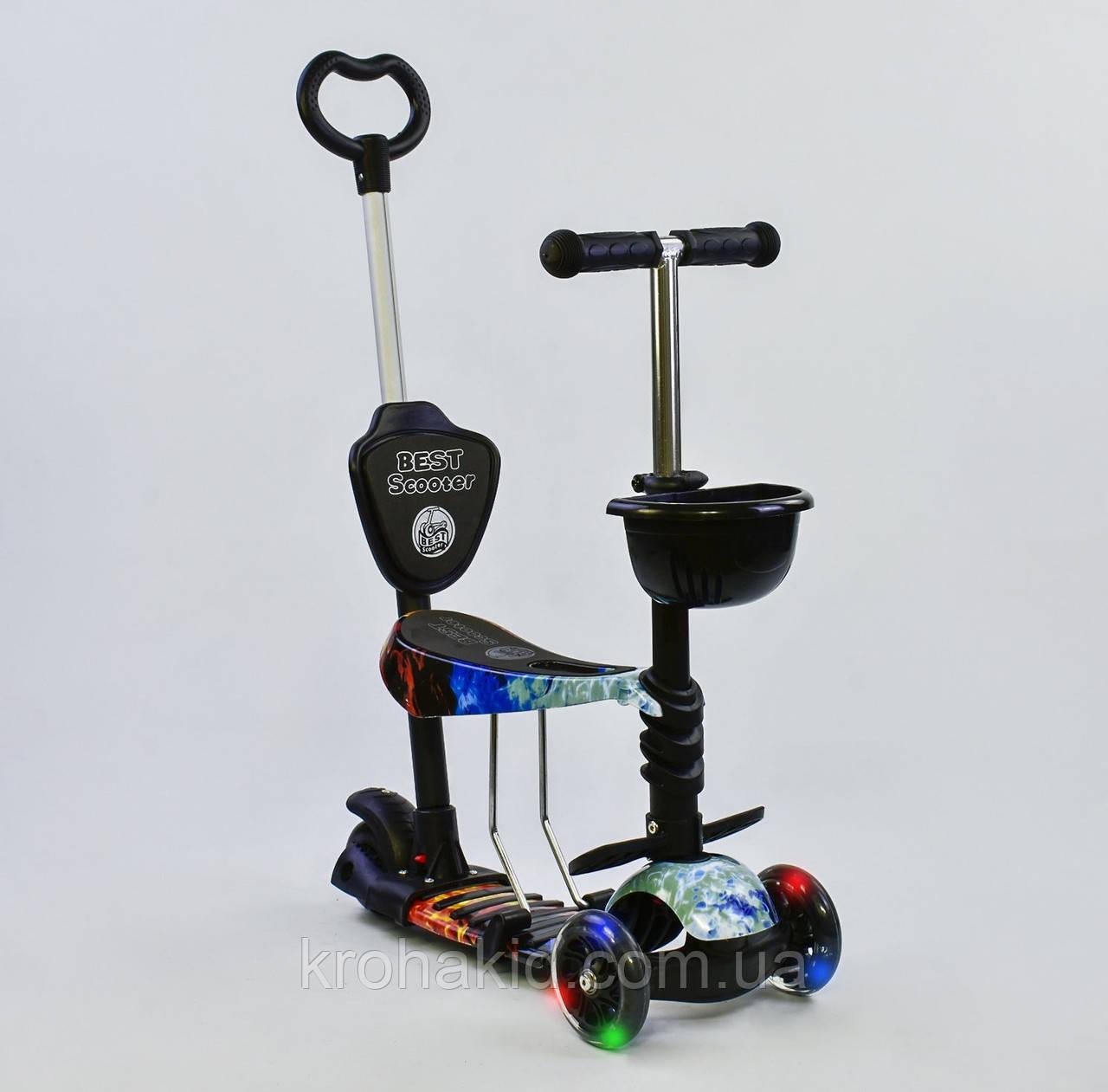 Самокат-беговел  5в1 21500  Best Scooter, АБСТРАКЦИЯ (черный)