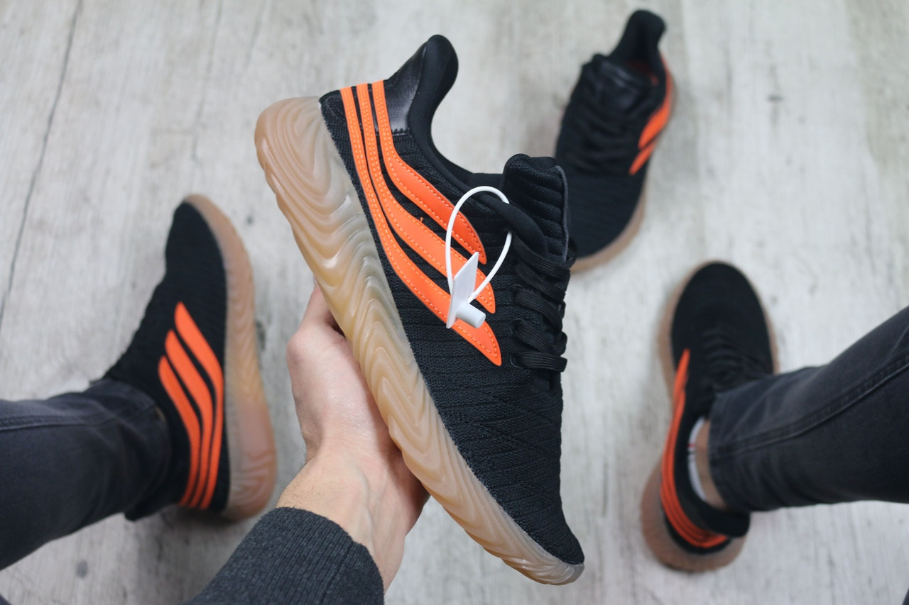 Мужские кроссовки в стиле Adidas Sobakov (black/orange), кроссовки адидас собаков (Реплика ААА)