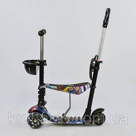 Самокат-беговел 5в1 Best Scooter с родительской ручкой, светящиеся колеса 26900, фото 2