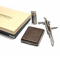 """Подарочный набор """"HONEST"""" (зажигалка, портсигар, нож)"""